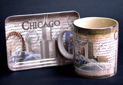 Chicago-Themed Mugs, Tray and Frames