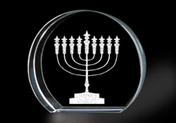Crystal with Menorah