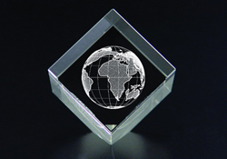 Lead Crystal With Laser-Etched Holographic Globe